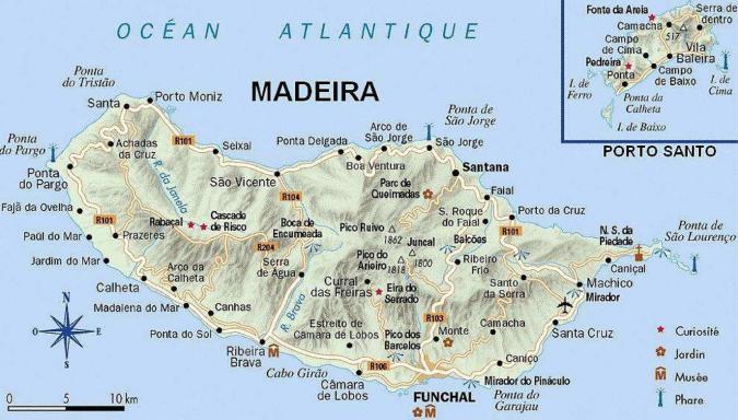 Carte détaillée Ile de Madère