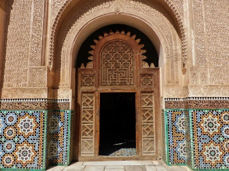 Marrakech Médersa Ali Ben Youssef porte d'entrée