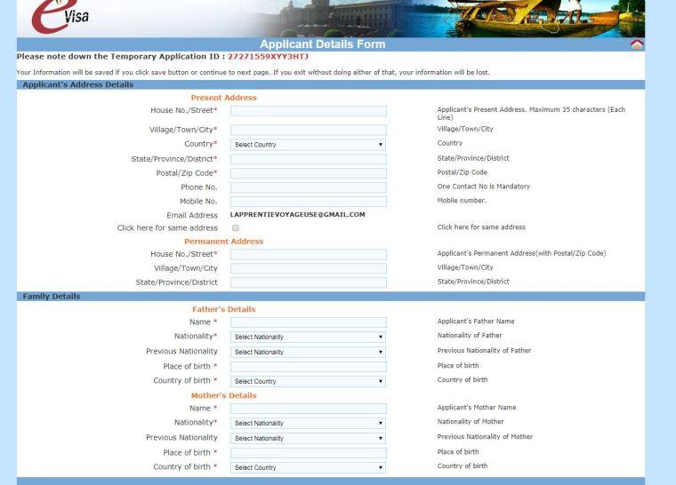 capture etape visa en ligne inde