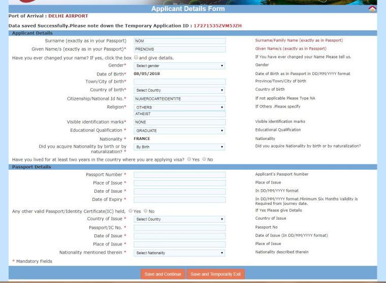 capture visa en ligne