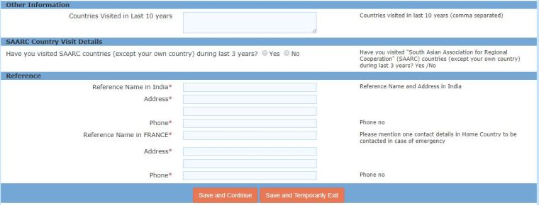 formulaire en ligne inde