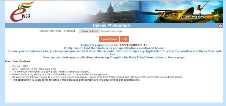 photo identite visa en ligne inde