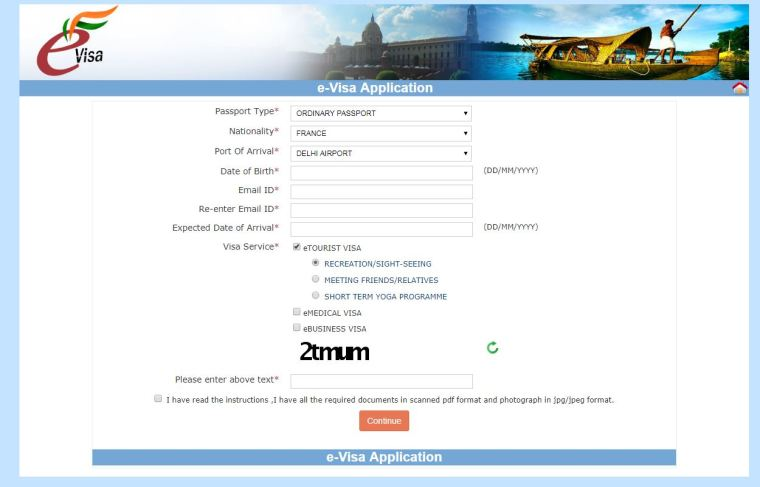 visa inde en ligne application