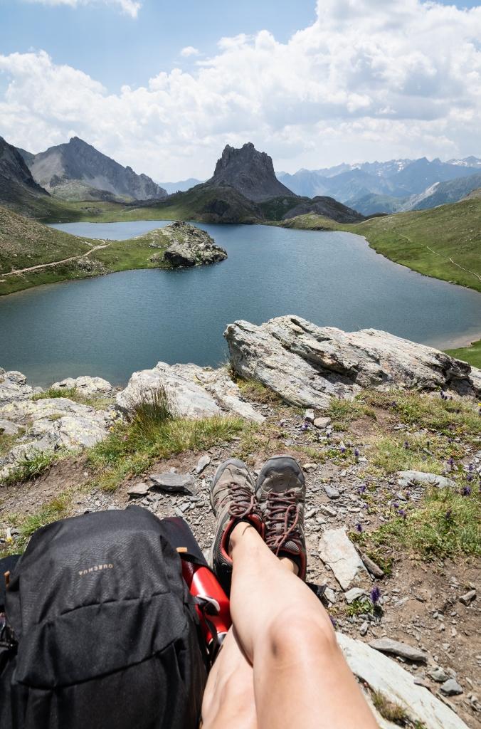 Vue sur le lac de Roburent, col de Larche